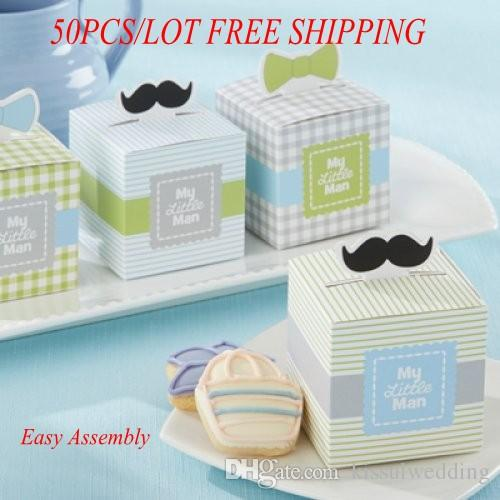 Lovely Baby Candy Box With Mini Mustaches And Dapper Bows Of My Little Man Baby Gift Box For Baby Decoration Favor Box 50pcs Lot