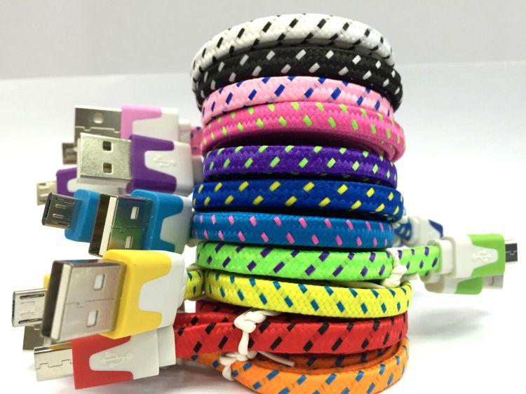 Haute Qualité 1 M 2 M 3 M Nouilles Plat Tressé Chargeur Câble Tissu Tressé Micro USB Charge Données Sync Cordon pour type-c android