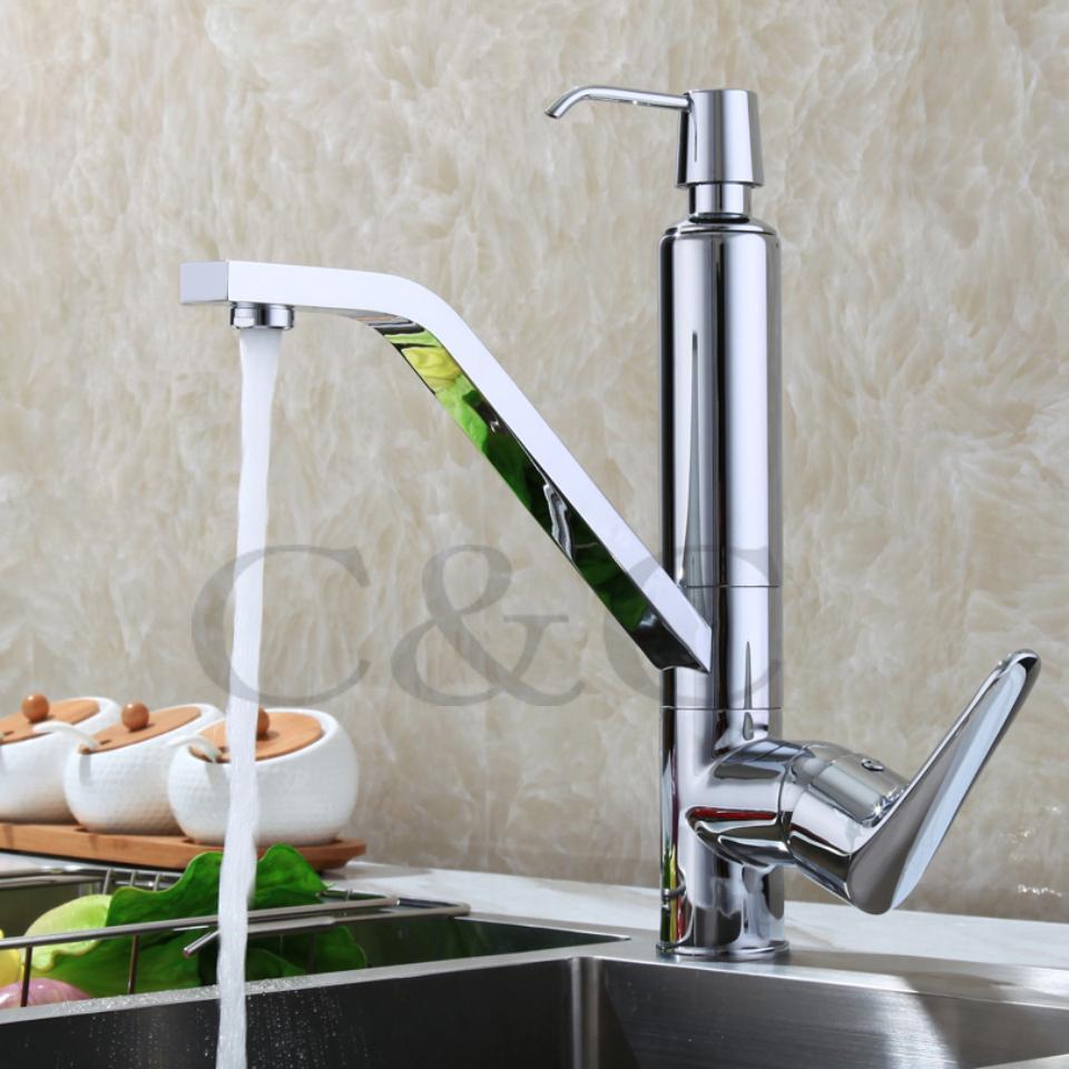 2018 Contemporary Chrome Solid Brass Kitchen Sink Mixer Tap Kitchen ...