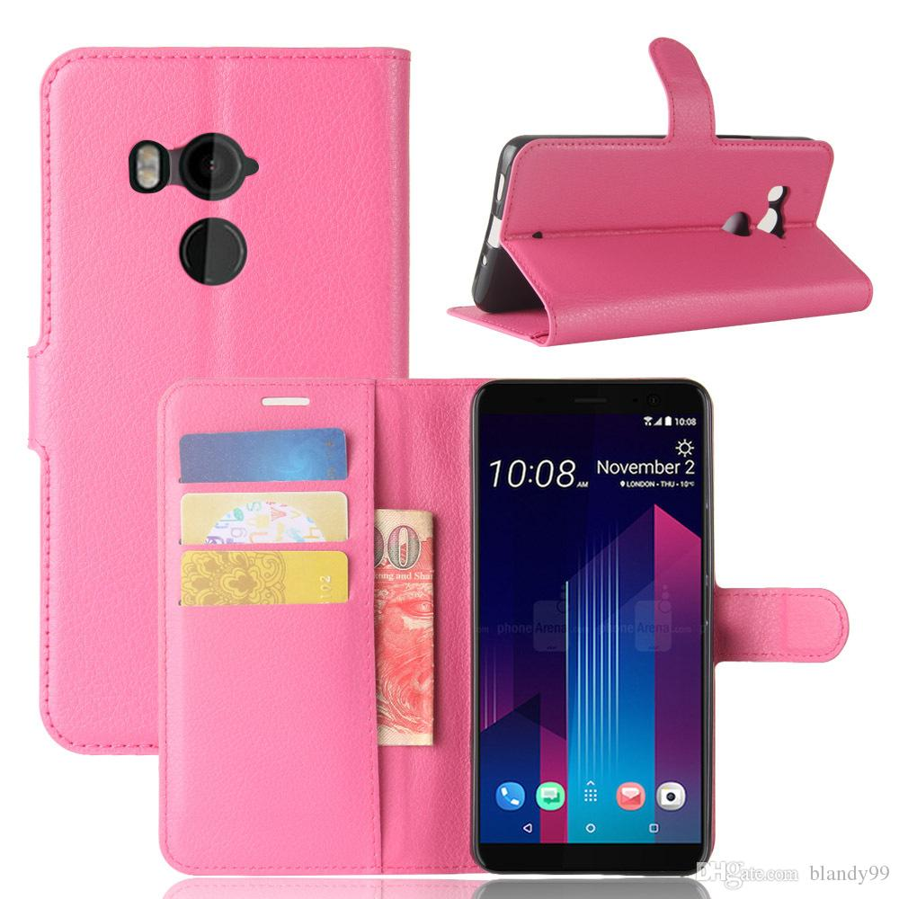 For HTC U11 plus Litchi lychee wallet leather TPU phone cover Case For HTC U11 plus