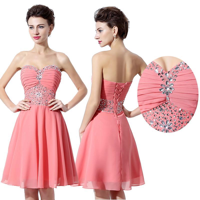 Compre Sparkle Prom Vestidos Cortos Con Lentejuelas Rhinestone Una ...