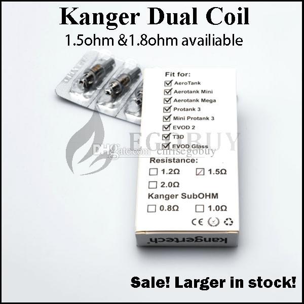 Kanger actualizado Reemplazo de cabezas de bobinas dobles 0.8 1.0 1.2 1.5 1.8ohm para genitank giant ii mini Protank3 Aerotank Mega EVOD pro t3d topevod