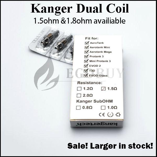 Kanger Uppgraderade Dual Coils Heads Ersättning 0,8 1,0 1.2 1.5 1.8Ohm för Genitank Giant II Mini Protank3 Aerotank Mega Evod Pro T3D Topevod