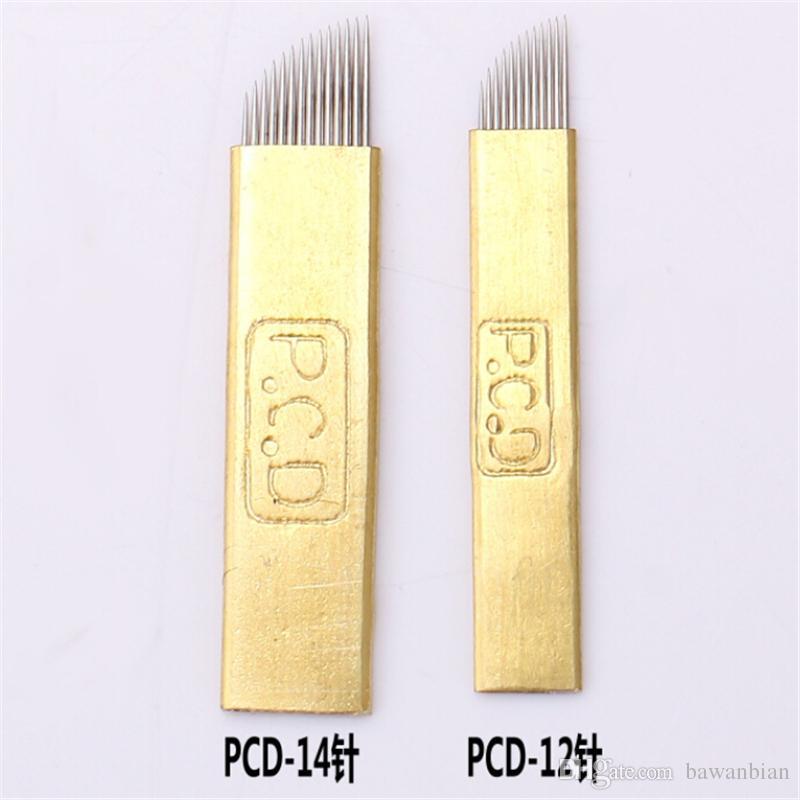 Toptan-50 ADET Kalıcı Makyaj Manuel İğne PCD 12 veya 14 Pins Kaş Dövme için İğne Bıçak