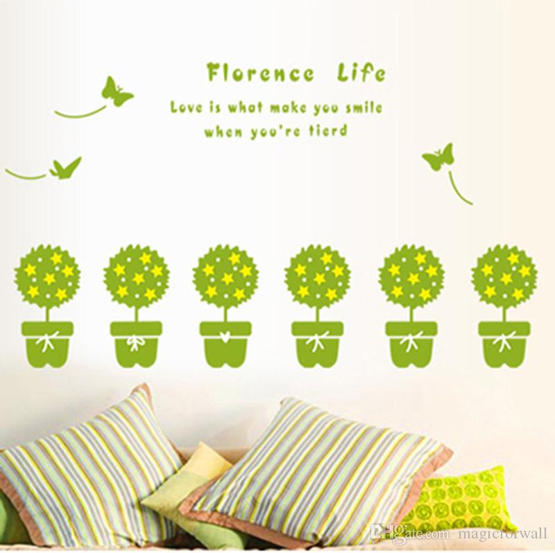 Bonsai Green Potted Plant Cactus Butterfly Wall Stickers Window Glass Bathroom Decoration Wall Decals Window Glass Wall Border Mural Decor