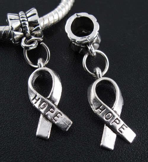Argent Tibétain Espoir Charmes Pendentif Dangle Perles Fit Européenne Bracelet 29mm