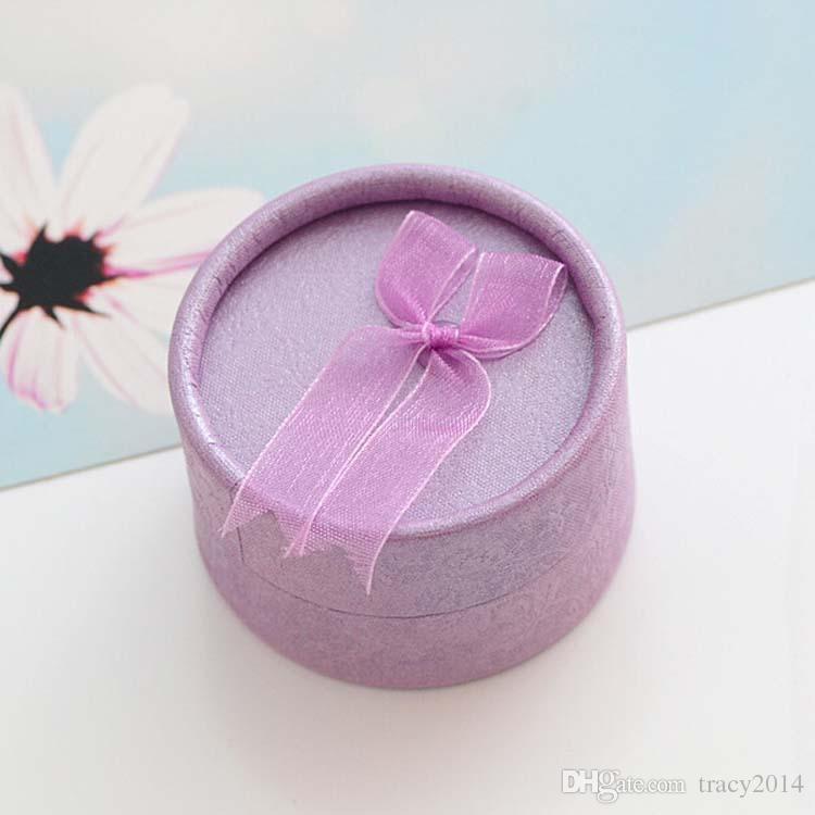 Bague Boucles d'oreilles Bracelet Cercueil Trinket Boîtes à bijoux amant cadeau Sac Favor mariage emballage Porte cas boxex rond