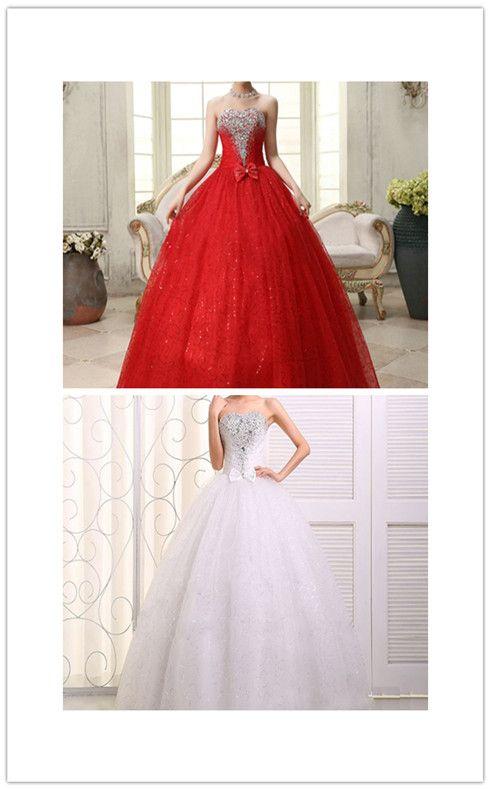 2016 robes de mariée nouvelle robe de mariée blanche Ivoire robe de mariée taille personnalisée 6-8-10-12-14-16 strass Grace demoiselle d'honneur robes robes robes