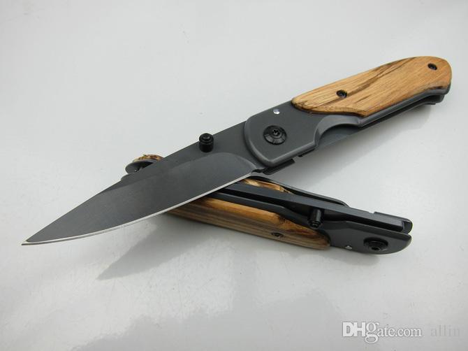 Butterfly DA44 survival Cuchillo plegable de bolsillo Mango de madera Acabado de titanio Cuchillo táctico de hoja Cuchillos de bolsillo EDC