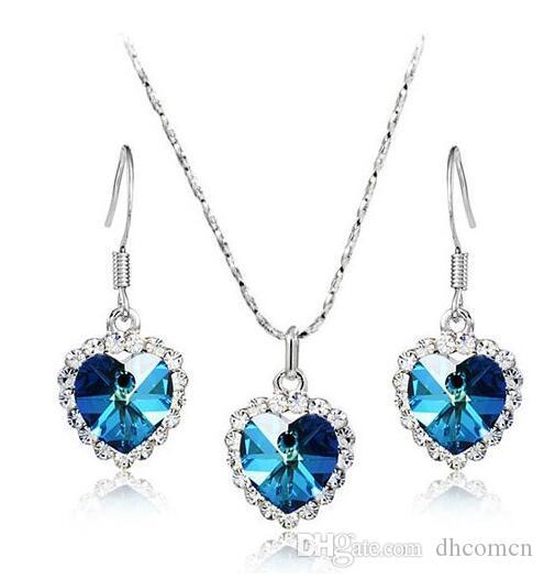 Titanic Women Austria Collana con cuore in cristallo Orecchini con goccia Set di gioielli con cuore in cristallo Ocean Fashion