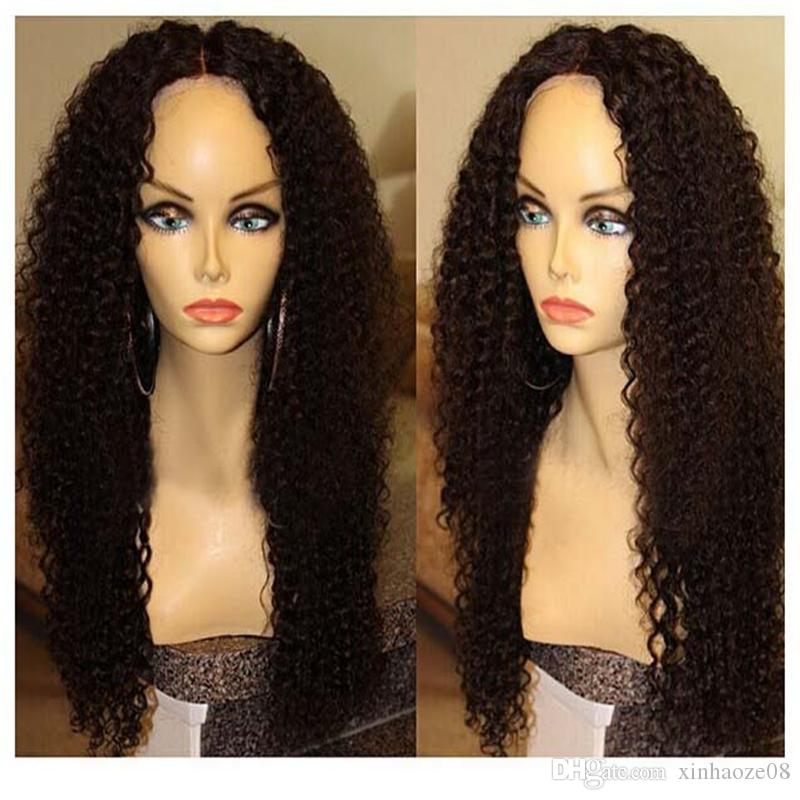 5x4.5'' Silk Top Glueless Full Lace Wigs Kinky Curly Middle Part Brazilian Full Lace Human Hair Silk Base Wig With Baby Hair