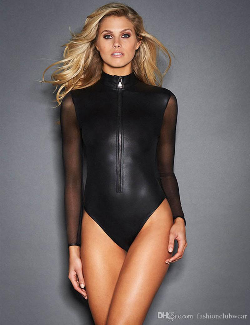 Sexy Patent Leather Bodysuit For Women Polish Long Sleeve Mesh Pu Patent Leather Bodysuit Leotard Sexy Swimsuit Bodysuit Luggage & Bags