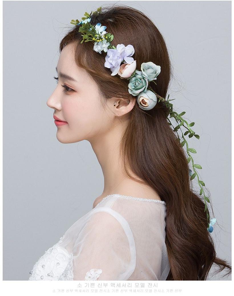 Grosshandel Hochzeit Braut Brautjungfer Blumen Blume Crown Tiara