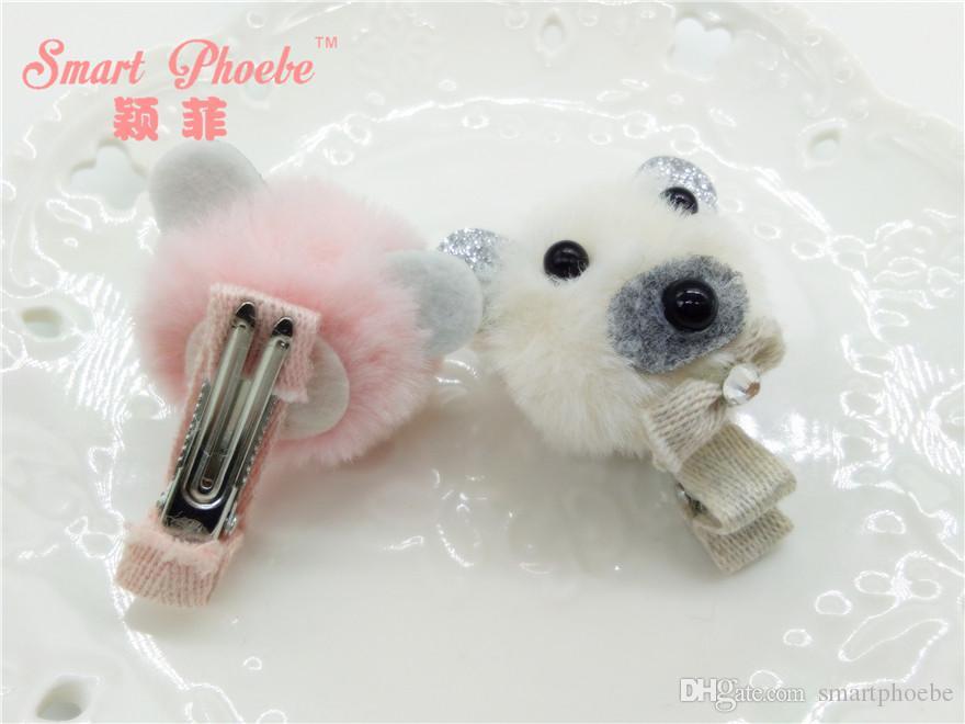 Мода симпатичные мех Пом Пом медведь заколки твердые Каваи блеск животных заколки для волос аксессуары розовый Мята белый розовый
