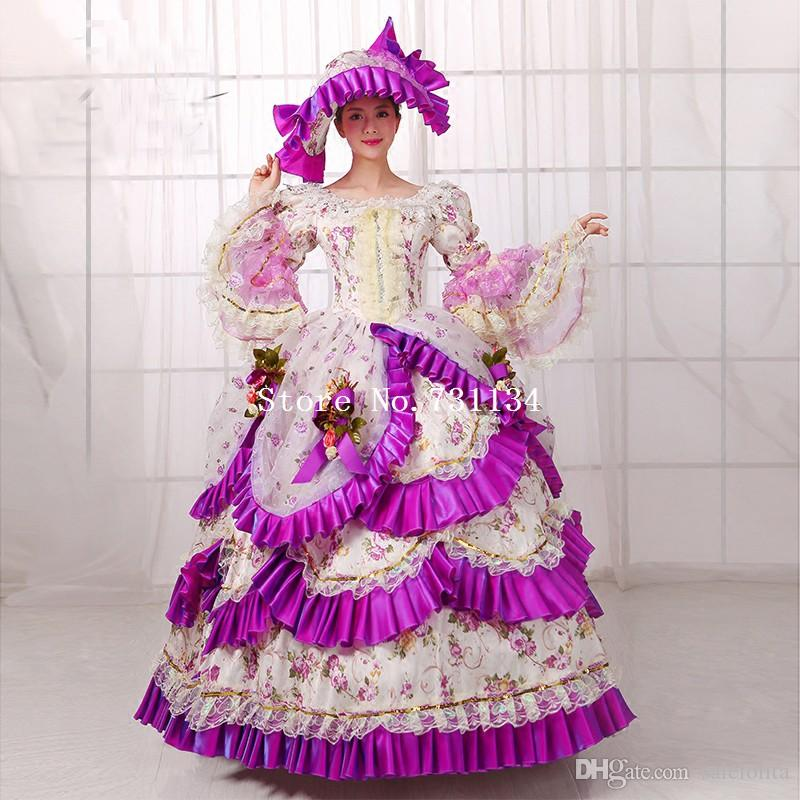 39d28c81463f Hot Sale Purple Britain 18th Century Belle Movie Gown Renaissance Medieval Marie  Antoinette Party Rococo Dress For Women Halloween Costumes Themes For Work  ...