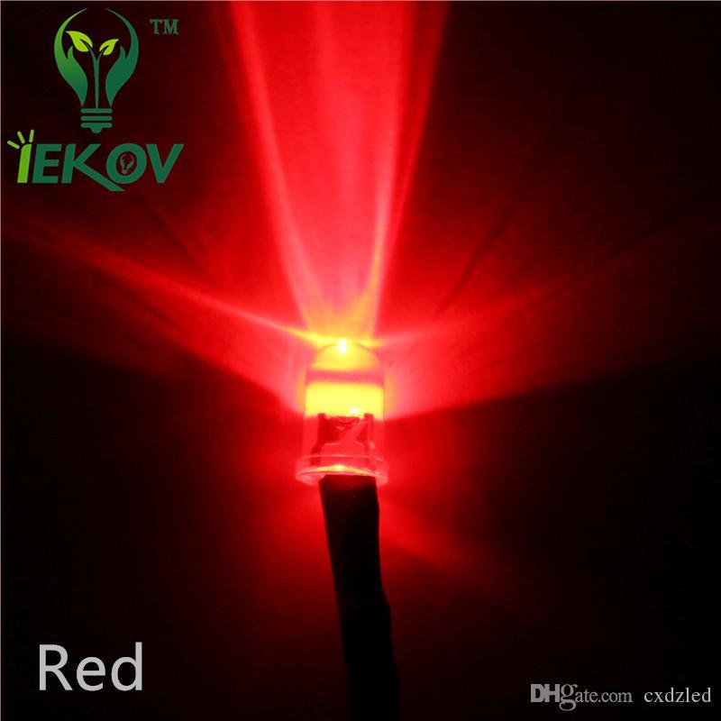 Hot 100PCS LED Pre Wired 12V DC Wired LED Lamp Light 5MM Led Bulb RED