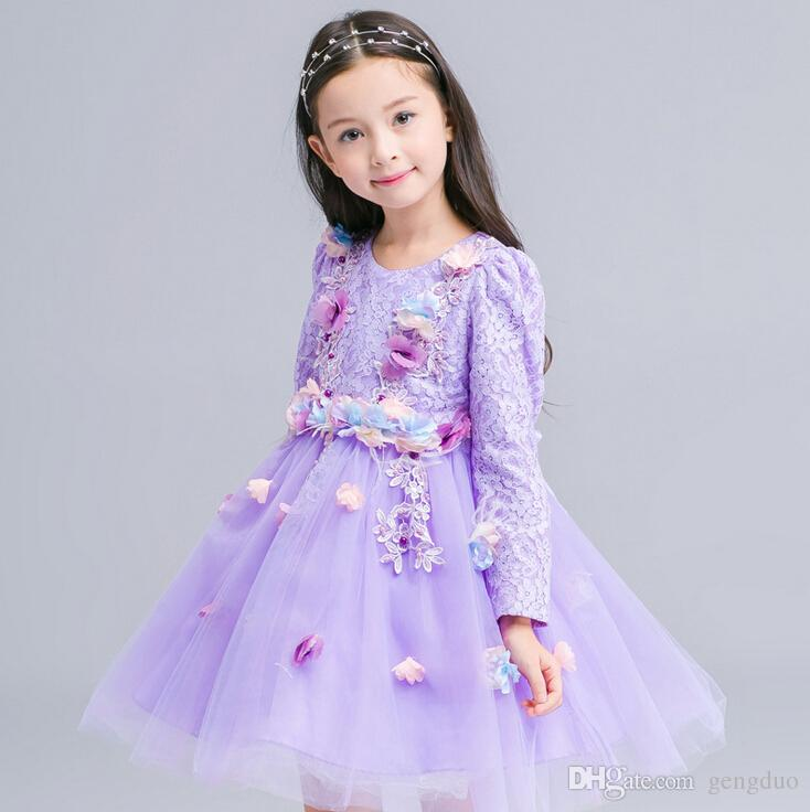 2018 New Kids Infant Girls Flower Petals Dress Children Baby Girl ...