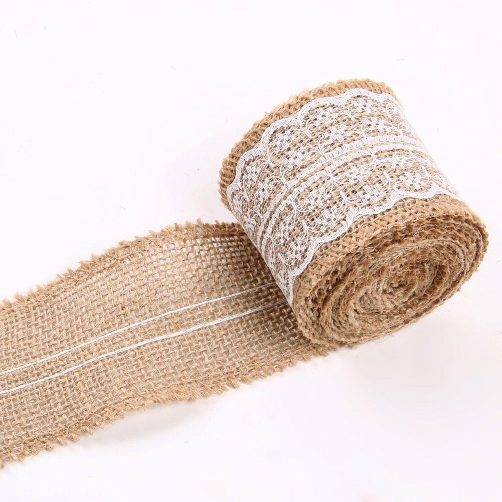 5 metros de cinta de arpillera de arpillera de yute natural con adornos de rollo de encaje Cinta rústica Boda Mariage Pastel de bodas Topper decoración