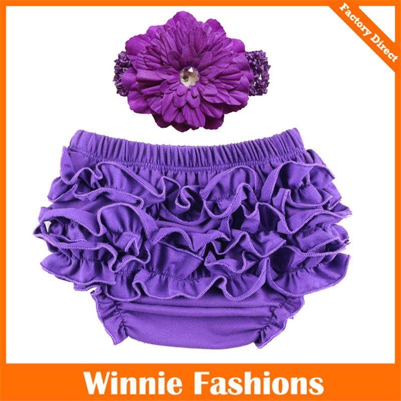 Cotton Baby girls underwear Ruffle baby Briefs PP pants bloomers kids bread panties toddler triangle underwear with flower headband K404