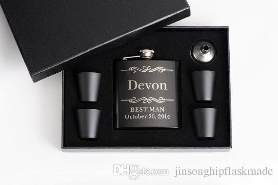Siyah 6oz hip flask seti 4 siyah 25 ml bardak, Kişiselleştirilmiş logo Ücretsiz FDA Derecesi