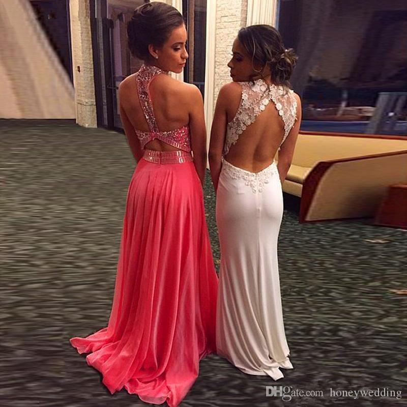 Fantastic Evening Gowns High Neck Beaded Draped Chiffon Coral Long Prom Dresses 2016 Backless Formal Party Dresses Evening Wear