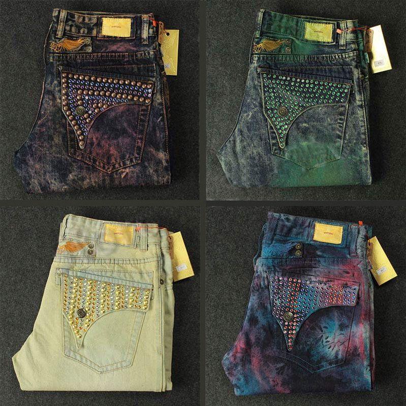 03044d18f58d6 New Mens Robin Jeans Rock Revival Designer Denim Jean with Crystal Studs  Pockets Biker Pants Trousers men's size 32-42
