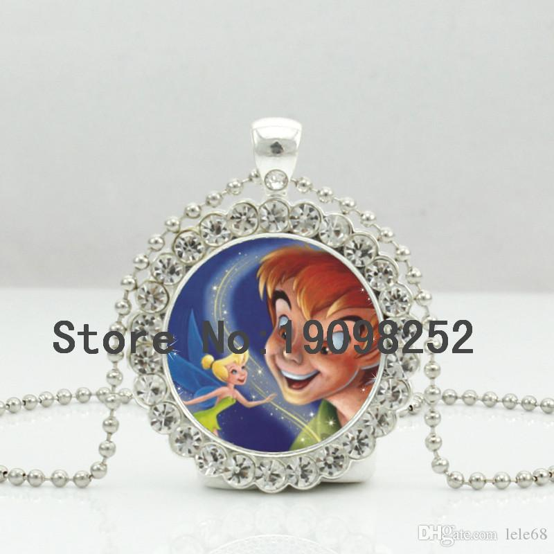 Wholesale new peter pan and tinkerbell necklace little tinkerbell wholesale new peter pan and tinkerbell necklace little tinkerbell pendant jewelry children gifts ball chain long necklace dc 0052 beaded necklaces heart aloadofball Gallery