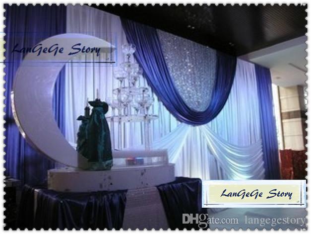 Lujo / NIZA Envío gratis seda de hielo Fondos de boda BLANCOS / CORTINAS con botines negros y lentejuelas plateadas / cortinas 3M * 6M