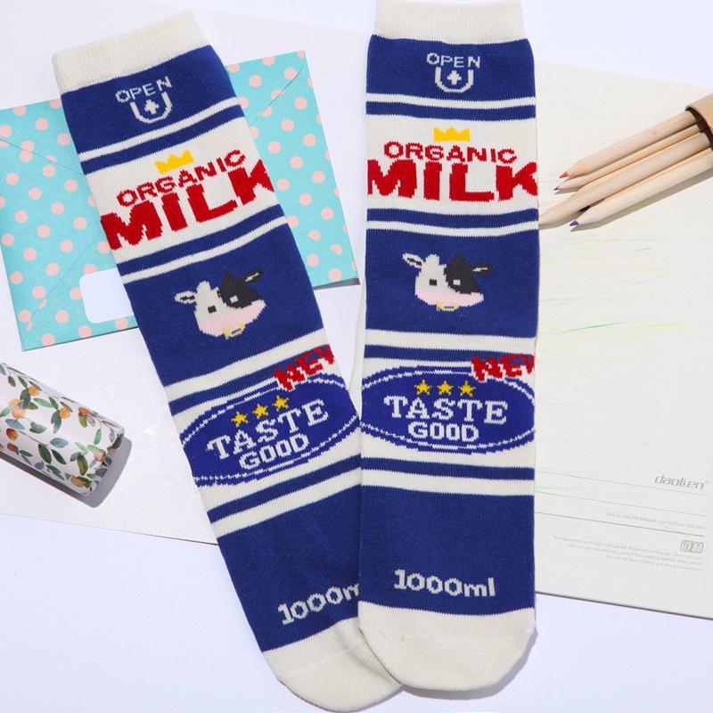 YENI Orijinal Tasarım Yenilik Komik Karikatür Kadın Çorap Baskı Süt Domates Gıda Çizgili Kadınlar Pamuk Çorap Ücretsiz Kargo