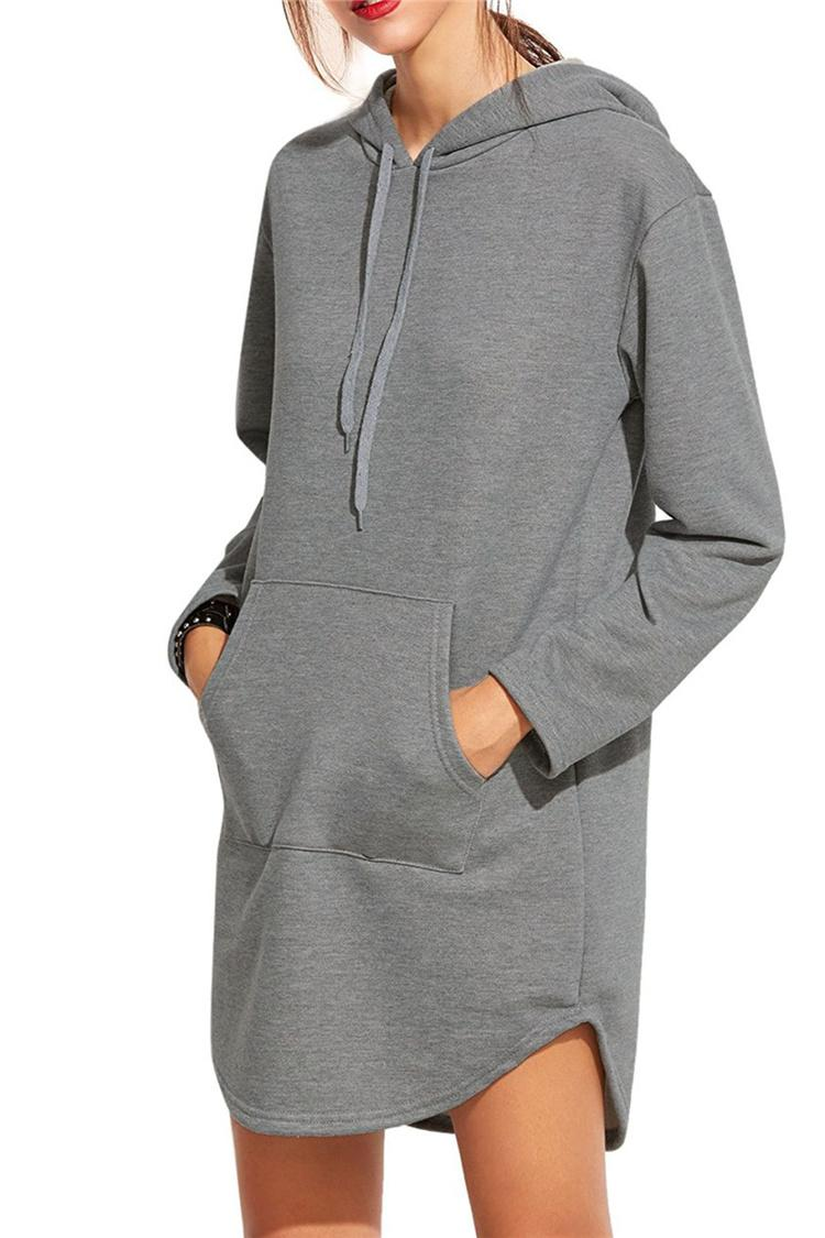 Mulheres Primavera Outono Cinza Longo Moletom Com Capuz Vestido de Manga Longa Bolsos Casuais Com Capuz Solto Moletons Pullovers Sudaderas Mujer DHL 171008
