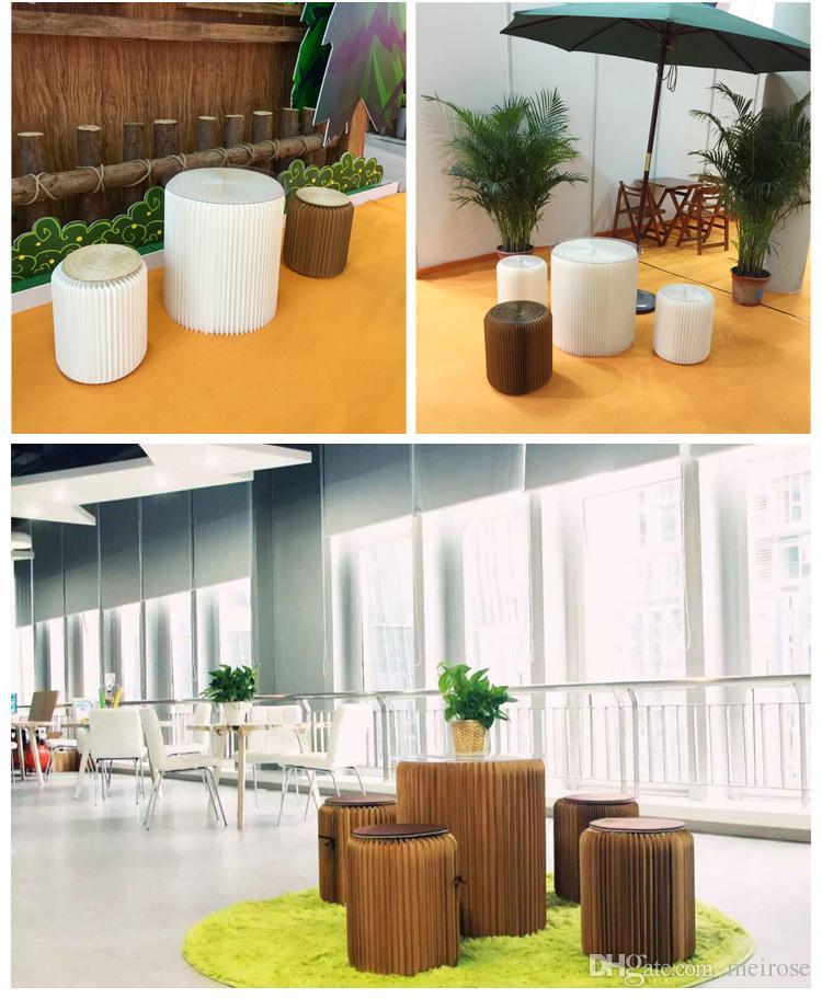 H63xDia56cm Innovative Furniture Pop -Small Table Round Table Tea interior impermeável Acordeão Estilo Kraft dobrável Negociação tabela primária