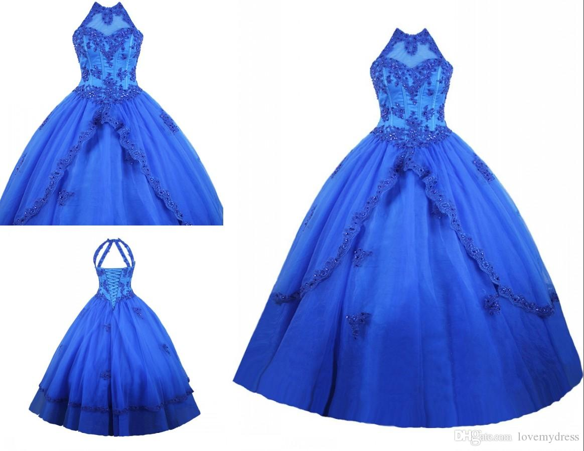 38857b72daa Vestidos De Quinceanera Dress High Neck Royal Blue Masquerade Ball Gowns  Tulle Applique Sequined Keyhole Back Prom Sweet 16 Dresses Cheap Purple  Dresses ...