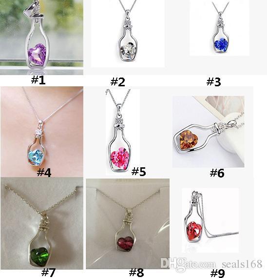 New DHL Garrafas ocas e amor cristal pingente colar austríaco barato gargantilha diamante liga colar camisola colar de jóias zj-n02