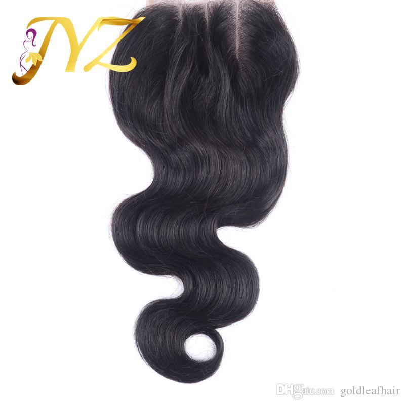 Capelli brasiliani non trasformati all'ingrosso con chiusura in pizzo 4x4 peruviana malese indiana estensione dei capelli umani tessuto onda del corpo con chiusura