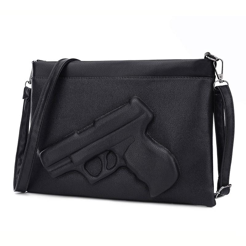 789124bd23 Fashion Women Shoulder Crossbody Bag 3d Gun Handbags Clutch Pu Leather  Pistol Bags Ladies Messenger Bag Envelope Tote Large Handbags Black Leather  Handbags ...