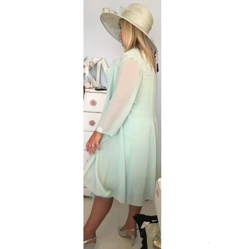 2017 mriffon menthe vert sexy V colonne Colonne courte mère de la mariée robes avec enveloppe plus taille décontractée veste en dentelle de thé longueur de la soirée