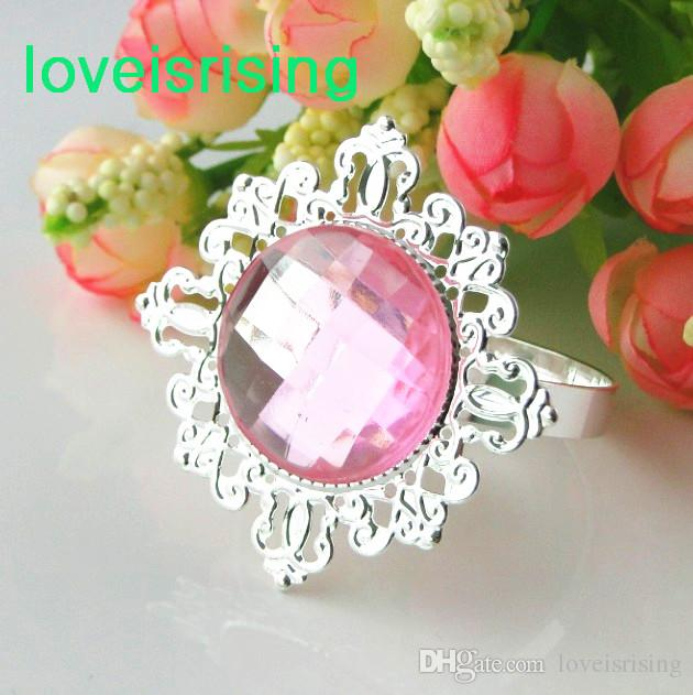 20 färger pick - 50st hög kvalitet klar vit pärla servett ring servetthållare bröllop bruddusch favor wedding party decor
