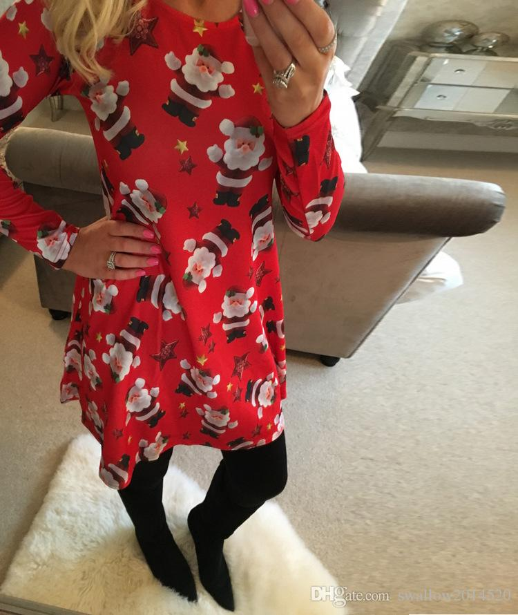 Christmas Crutch Dress for Womens Blouses Tops Skirts for Women Tops for Women Print Santa Claus Mini Dresses Women Shorts Clothing