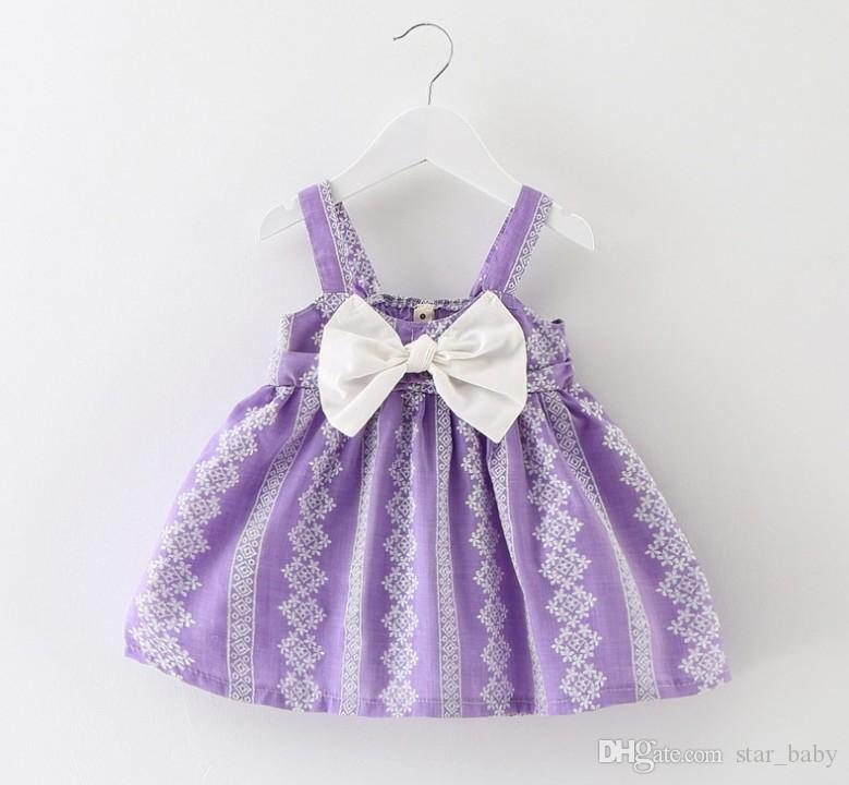 Summer Baby Dress Girls Sleeveless Printed Dresses Suspernder Princess Dress Kids Clothes Children Beach Wear Lemon Fashion 9261