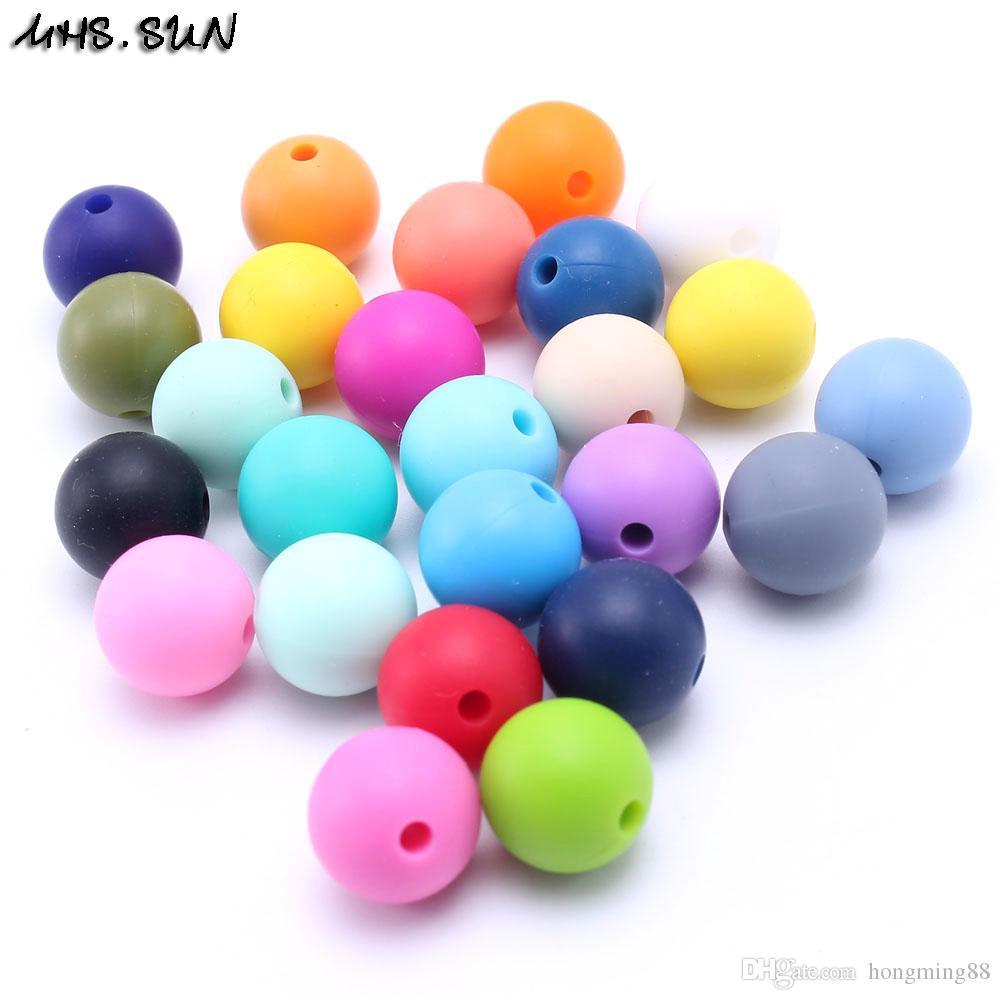 100 ADET Rastgele Mix Renk BPA Ücretsiz DIY Yuvarlak Silikon Chew Boncuk Gıda Dereceli Teething Yumuşak Silikon Diş Kaşıyıcı Boncuk Bebek NecklaceBracelet ...