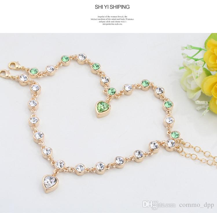 i Fashion lady Love Pendant Crystal Bracelet il cuore d'amore imitazione braccialetto a catena di diamanti le donne gioielli bracciali fascino
