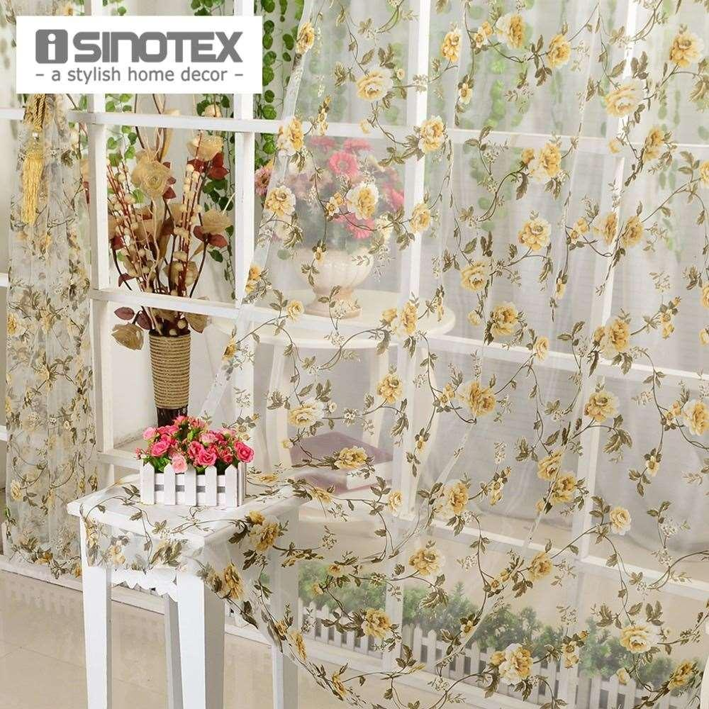 Isinotex Window Curtain Yellow Floral Transparent Burnout Sheer ...
