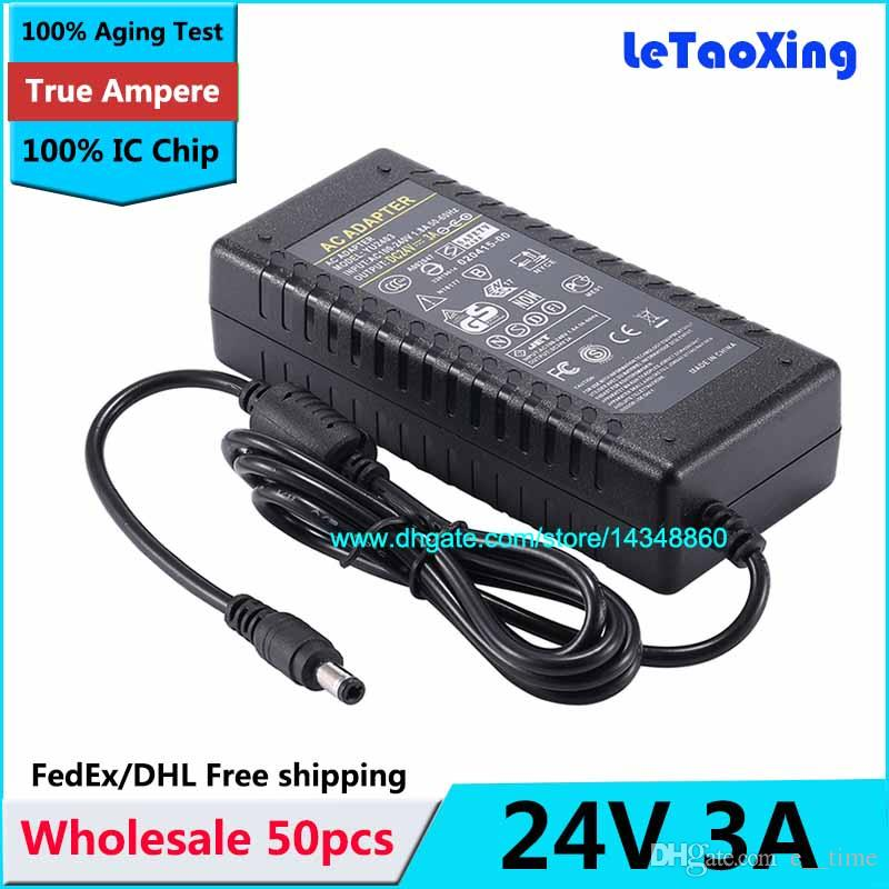 50pcs AC DC 24V 3A Power Supply 72W Adapter Charger Transformer For LED  Strip Light CCTV Camera With IC Chip Free shipping