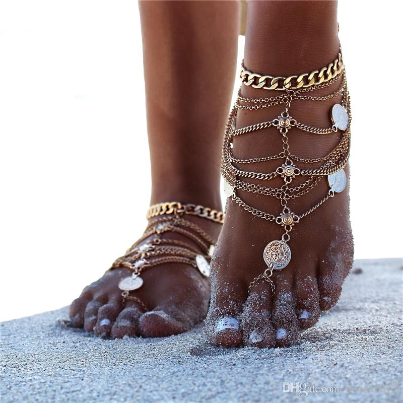 New Fashion Mixed Style Silver Plated Anklets Punk Retro Beach Metal Coins Multi-layer Tassel Chains Anklets For Women foot Jewelry