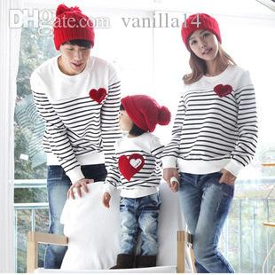 0ebe877a1d570 Wholesale-2016 Family fashion Spring/Autumn family pack cotton set  mom/dad/child clothes, mom and daughter striped long-sleeve T-shirt F2