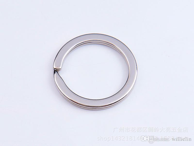 35mm DIY Porte-clés 304 Porte-clés en acier inoxydable pour bijoux Accessoires de bricolage Bandes d'argent à vendre