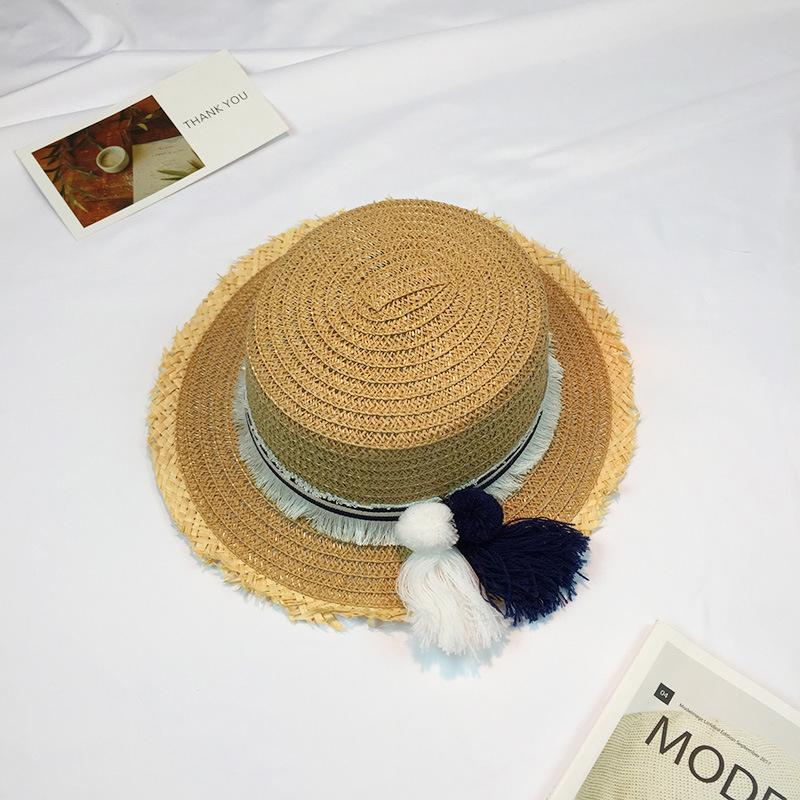 Wholesale 2017 Sombrero Sun Hats For Women Panama Cap Handmade Custom  Striped Tassel Hair Ball Rafael Weave Straw Hat Beach Hat Female Summer Hat  Straw ... c269059af38