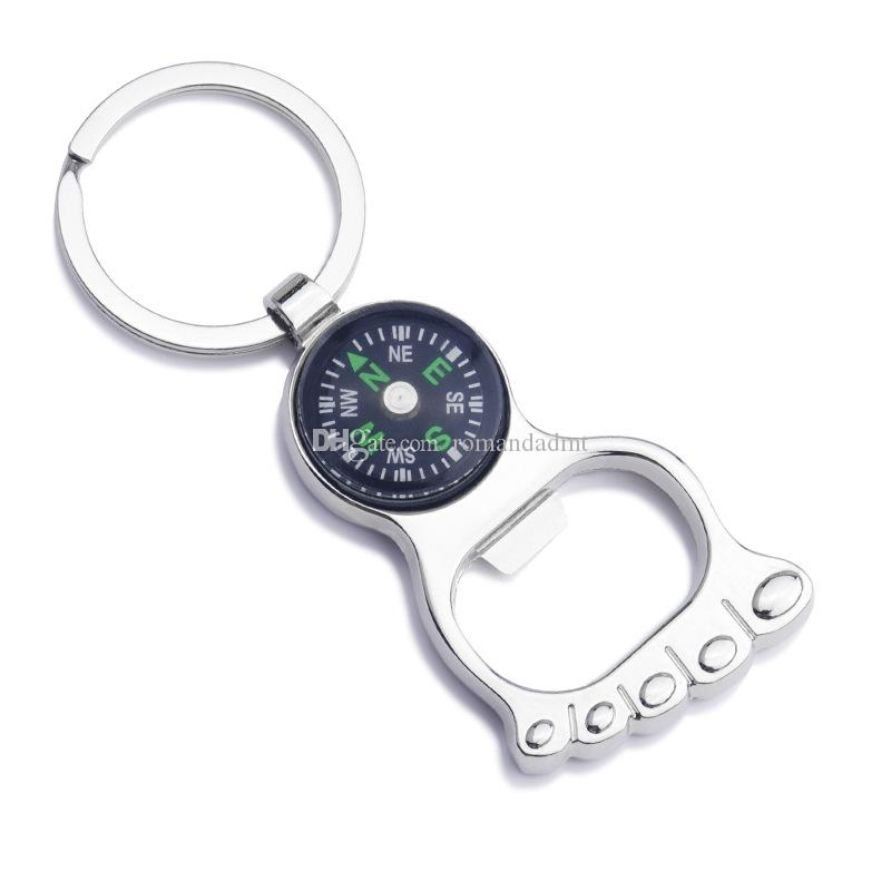 Compass with foot bottle opener Alloy key chain Keychain key ring wedding favors Baby Shower Party gift + DHL