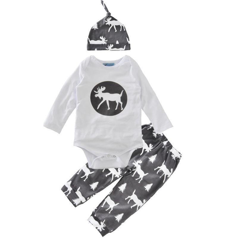 Baby christmas suits korean style fashion Toddler Boys Holiday Clothes Deer shirts+Pants +hats printed cotton Outfits top casual Set 0-4T