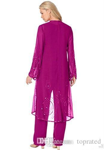2019 plus größe lange ärmel Mutter der Brauthose Anzüge mit Jacke Perlen Chiffon Moderne Brautkleider Günstige Elegant Party Kleider